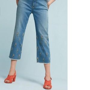 Anthropologie - High rise embroidered jeans